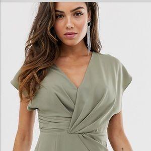 ASOS Design Twist and Drape Front Midi Dress